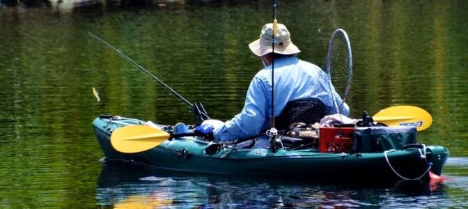 Man Fishing in a Kayak