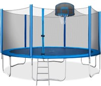 Merax 15ft Trampoline with Safety Enclosure Net and Basketball Hoop Included