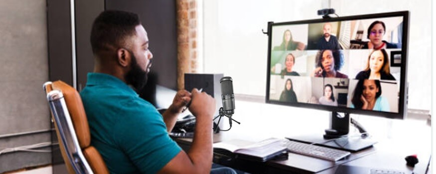 student on zoom call speaking into microphone