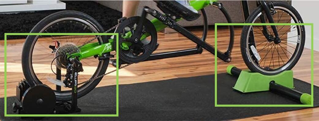 ElliptiGO Fluid 365 Stationary Trainer - using elliptical bike in living room