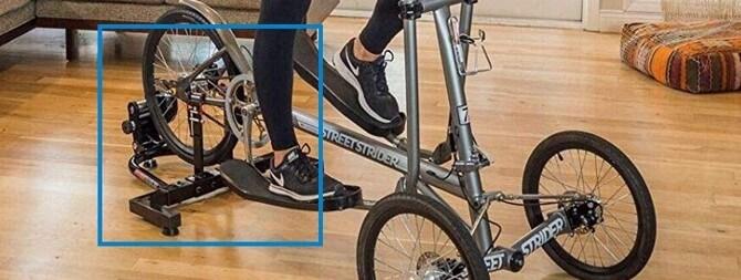 StreetStrider Indoor Training Stand - using elliptical bike in living room